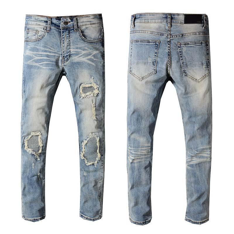 Le printemps et l'été 2020 bleu clair des jeans jeunes mince déchiré tendance pantalon de droits des hommes coréens gratté pantalons mendiant hommes