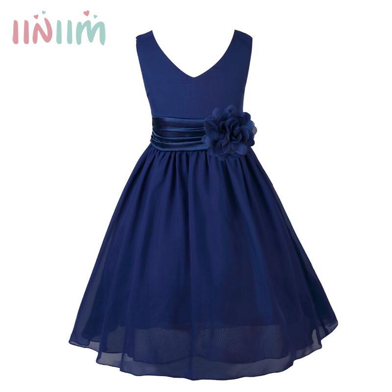 Iiniim Girls Teenage Birthday Party Dress Elegant Floral Princess Dress Ball Gown Tutu Dress For Weeding Kids Vestidos Clothing Y19061501