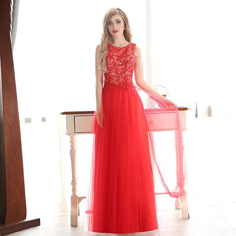 Red Tulle Formal Evening Dresses With Lace Appliques 2020 Floor Length Prom Gown Long Party Dresses