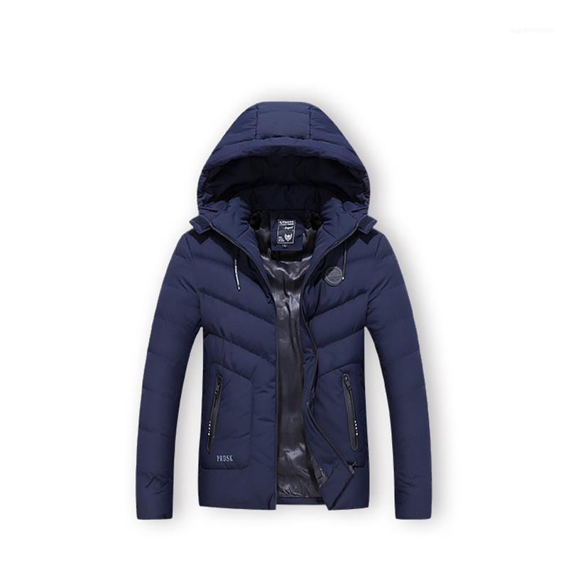 Moda Sólidos Homens Inverno Parkas Designer Grosso Quente Mens Tops Zipper Fly Homme Algodão acolchoado Jacket