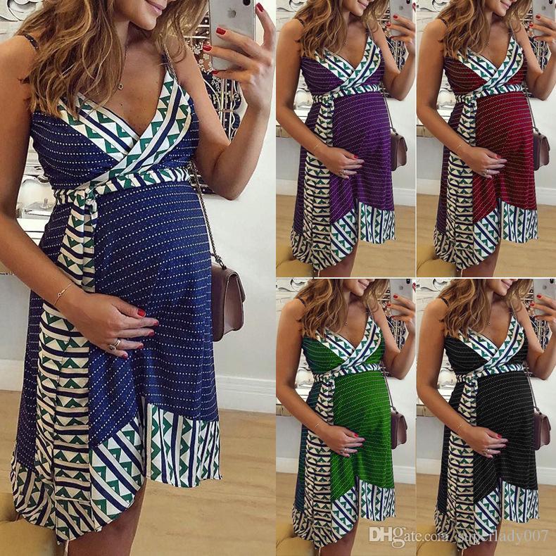 Женская печатный слинг материнства платье мода беременных женщин повседневные платья короткие юбки слинг платье S-3XL
