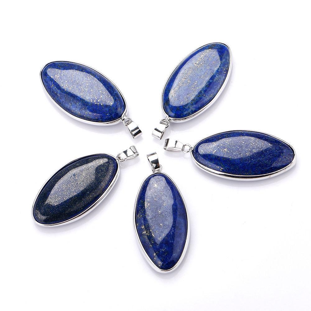 Stylish Lapis Lazuli Gemstone Gem Necklace Pendant Water-drop Shape Fine Sale