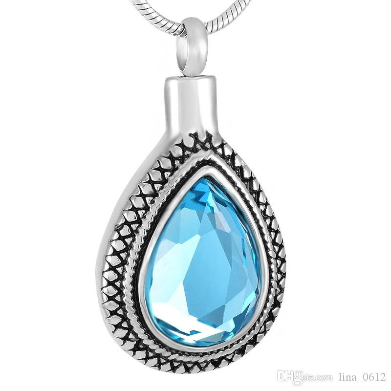 IJD9314 Fashion Big Blue Crystal Teardrop Cremation Necklace Jewelry Keepsake Ashes Holder Memorial Pendant In Stainless Steel