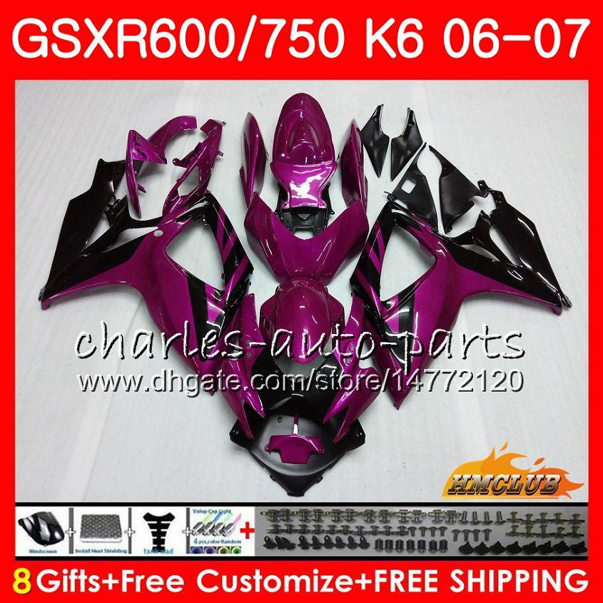 Kropp för Suzuki Lila Svart GSX R750 GSX R600 GSXR 600 750 GSXR750 06-07 8HC.92 GSXR-750 GSX-R600 K6 GSXR600 06 07 2006 2007 FAIRING KIT