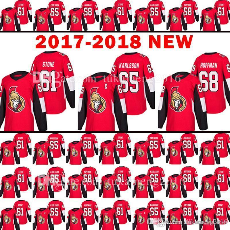 venda quente Nova Ottawa Senators 61 Mark Stone Jersey 18 homens 65 Erik Karlsso 68 Mike Hoffman Hóquei Jerseys Bordados