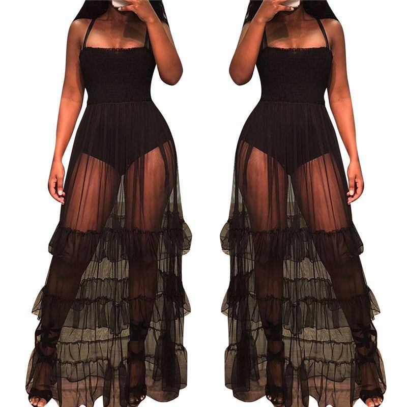 Sheer Mesh Maxi Dress Women Sleeveless See Through Black Slip Dress Tiered Mesh Beach Sundresses Summer Sexy Club Party Dresses T200521