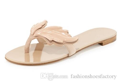 패션 여성 슬리퍼 잎 젤리 플랫 샌들 여성 플립 플롭 플랫 윙 비치 신발 Pantufas Adulto Feminina