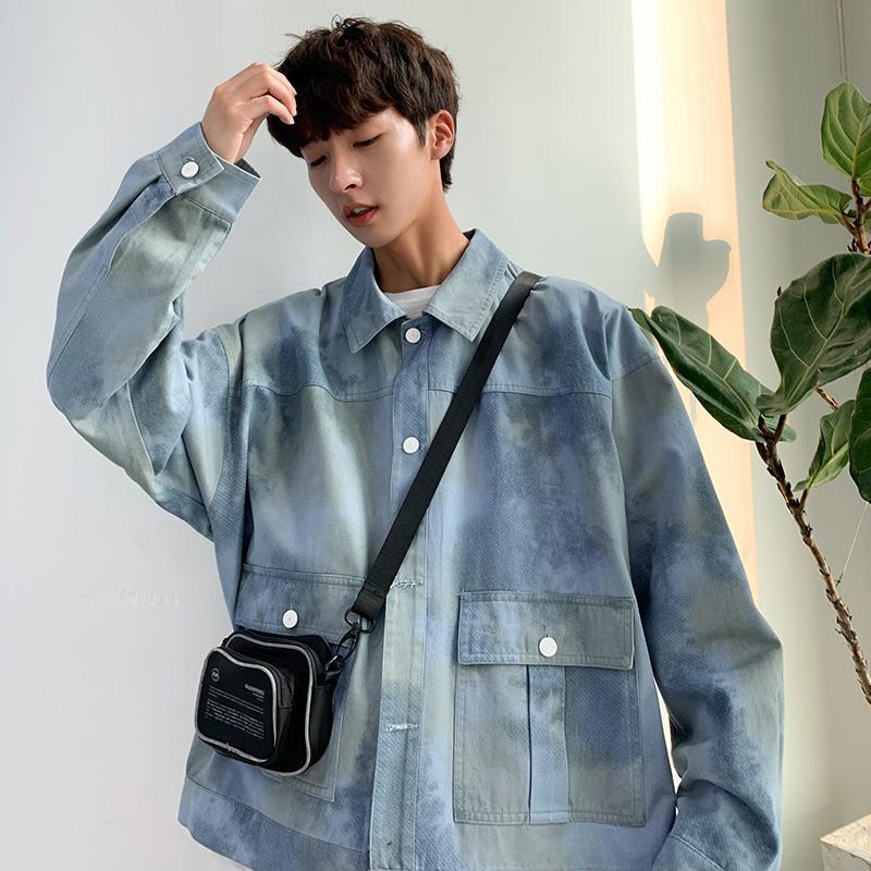 Camuflaje Denim chaqueta de los hombres de la manera lavó el Impreso de mezclilla casual chaqueta de bombardero hombre Streetwear salvaje flojo varones hip hop