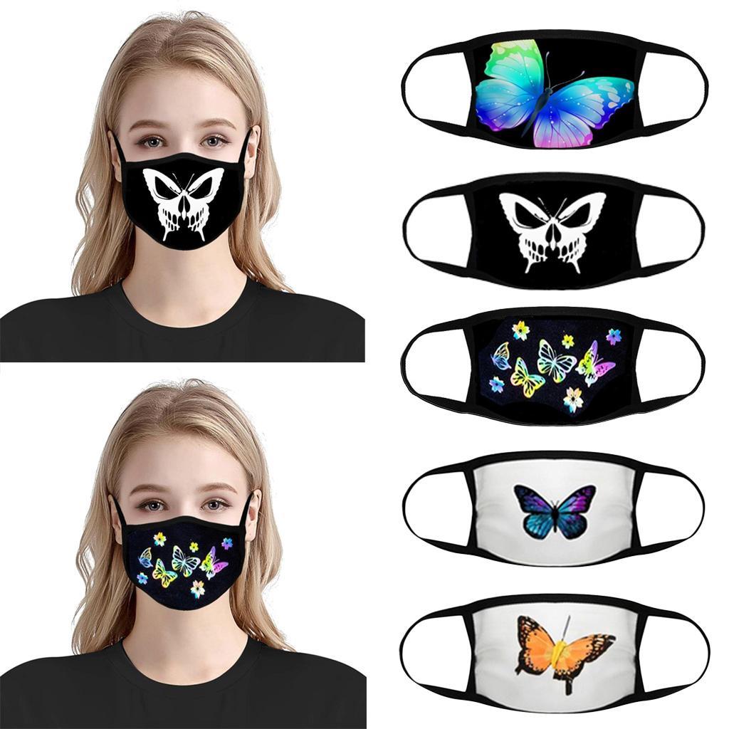 يمكن إعادة استخدامها أقنعة الوجه الأسود الكرتون أقنعة القطن فراشة المطبوعة 20PCS مصمم قناع الوجه والنساء أزياء صافي أقنعة تنفس الحمراء