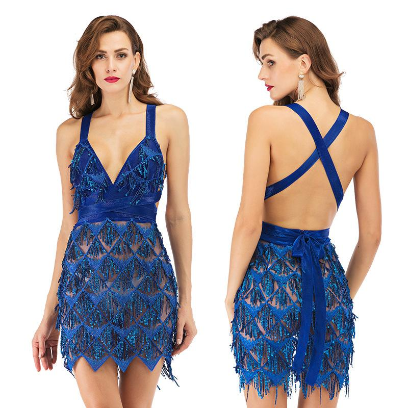 Бальные платья европейского и американских новой бахрома блесток сексуальных юбки Backless платье юбка Глубокого V-образный вырез платье