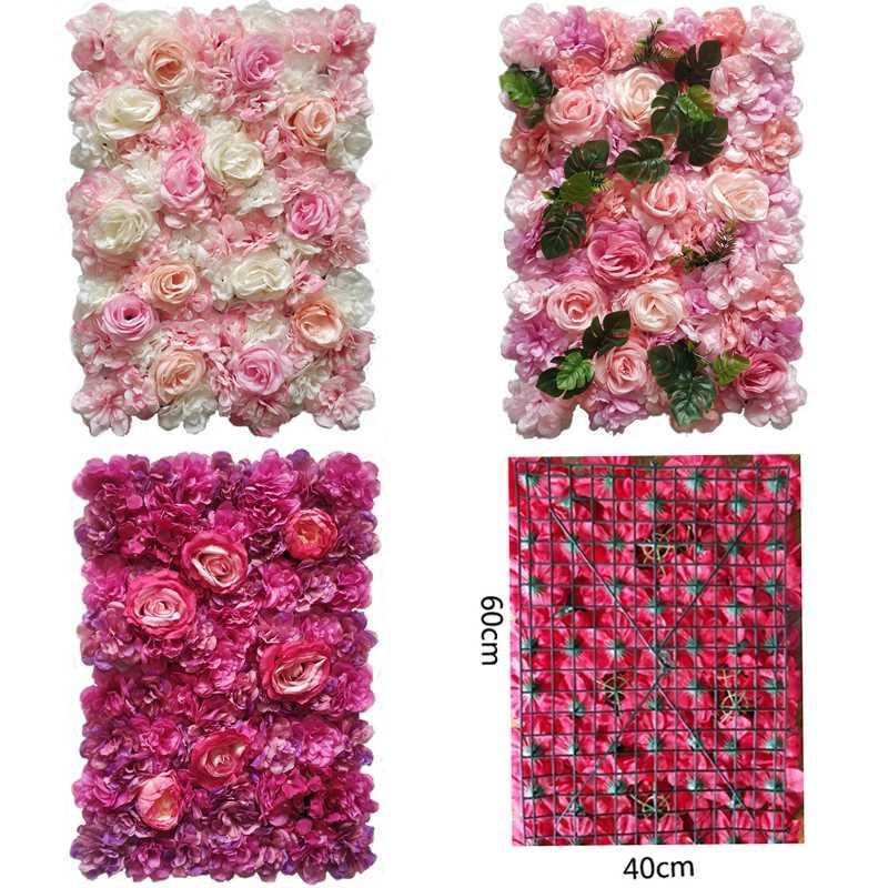 Fleurs artificielles décoration murale 24 « x16 » Panneaux décoratifs de fleurs de soie de mur de fleur pour mariage Home Party Backgdrop Décor