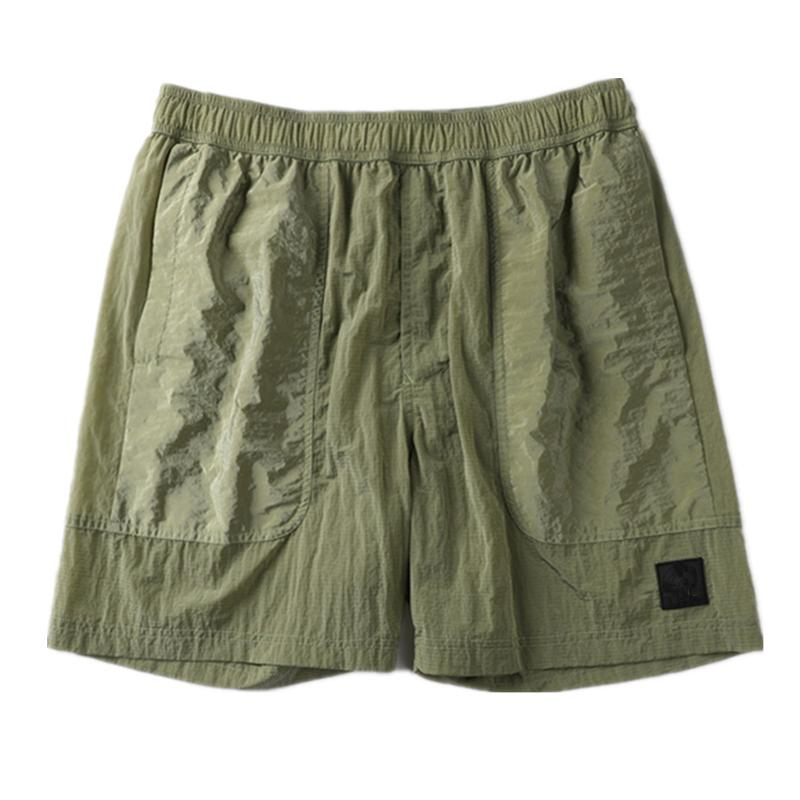 Calças de praia Opstoney 2021 Konng Gonng Marca Verão Shorts Moda masculina Running Solto Processo de lavagem seca rápida de tecido de algodão puro