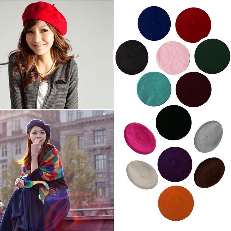 2019 der neuen Frauen-Winter-Hut Beret Female Wolle Baumwollmischung Cap 16 Farbe neue Frauen-Hut-Kappen Schwarz Weiß Grau Rosa Boinas De Mujer
