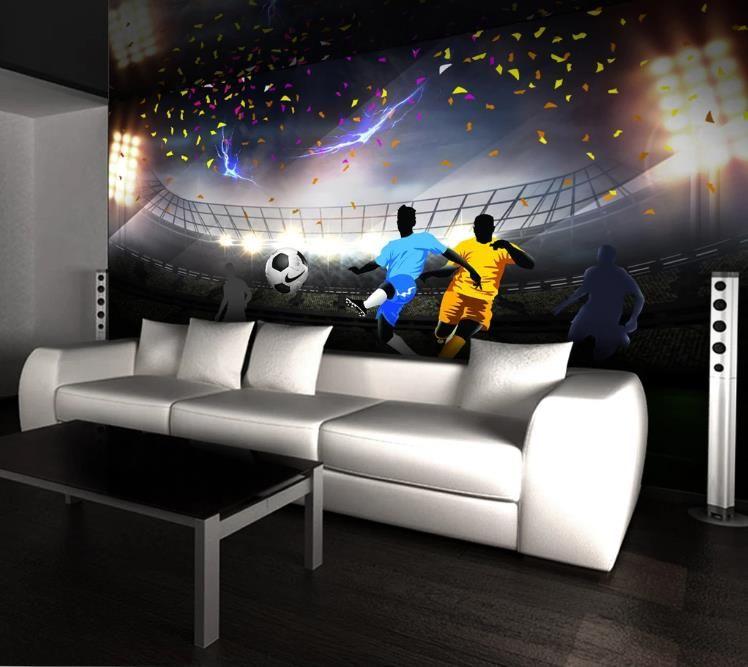La foto de encargo del papel pintado mural 3D HD verde Campo de fútbol americano de la pared decorativos sofá de la sala fondos de pantalla decoración para el hogar