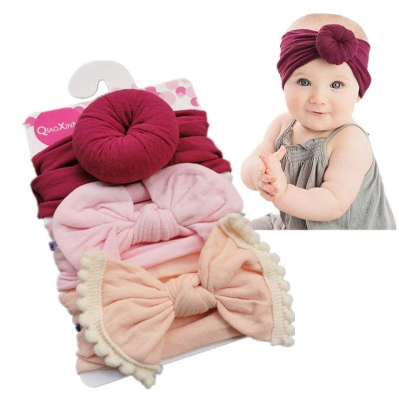 Baby Girls Headbands Knot Ball Donut Nylon Hairband Elastic Infant Bow Turban Solid Knot Headwear Hair Accessories 3pcs/set 10 Style YW4026L
