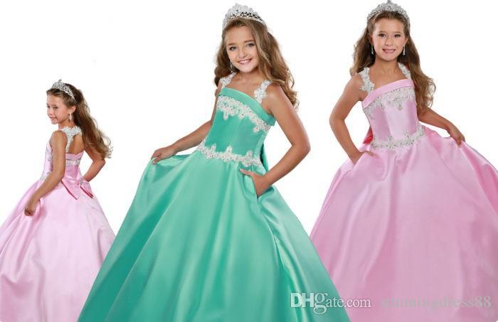2021 Pretty Nane Yeşil Pembe Küçük Kızlar Pageant Elbiseler Toddler Bebek Applique Sequins Saten Ucuz Çiçek Kız İlk Communion Elbise
