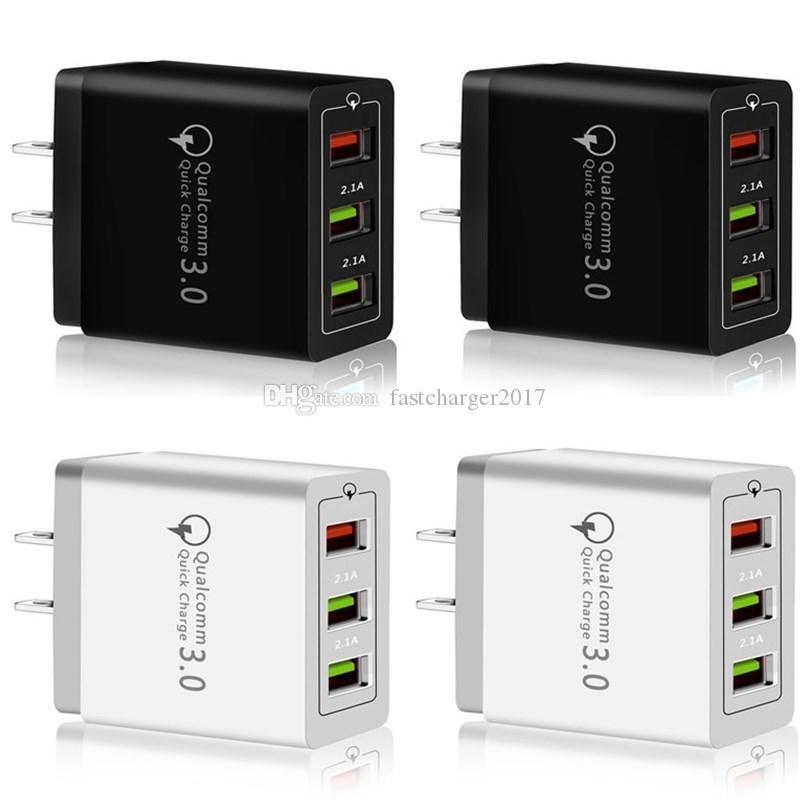 Schnelle Schnelle Quick Charge QC3.0 3 USB-Anschlüsse Eu US-Wechselstrom-Hauptraum-Wand-Ladegerät für Samsung s8 s10 Note 10 htc android phone pc