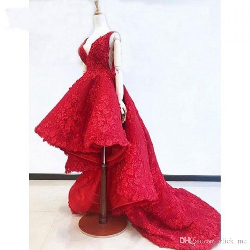 Vermelho alta baixa renda vestidos de baile abiye do vintage 3d flor vestidos de noite com decote em v profundo decote babados modest árabes vestido de festa formal