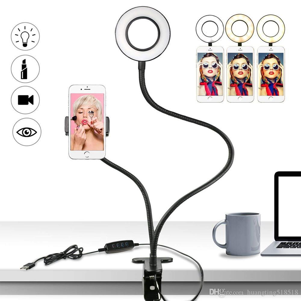 3-Light Modos 10 Níveis Ajuste de Brilho, Uso no YouTube, Facebook, Twitter, Bate-papo Online, Maquiagem, Luz do Anel de Selfie com Titular do Telefone