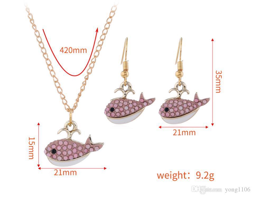 Nueva moda europea y americana tendencia hip-hop accesorios de personalidad lindo aerosol de tiburón delicado aretes collar conjunto decoraciones
