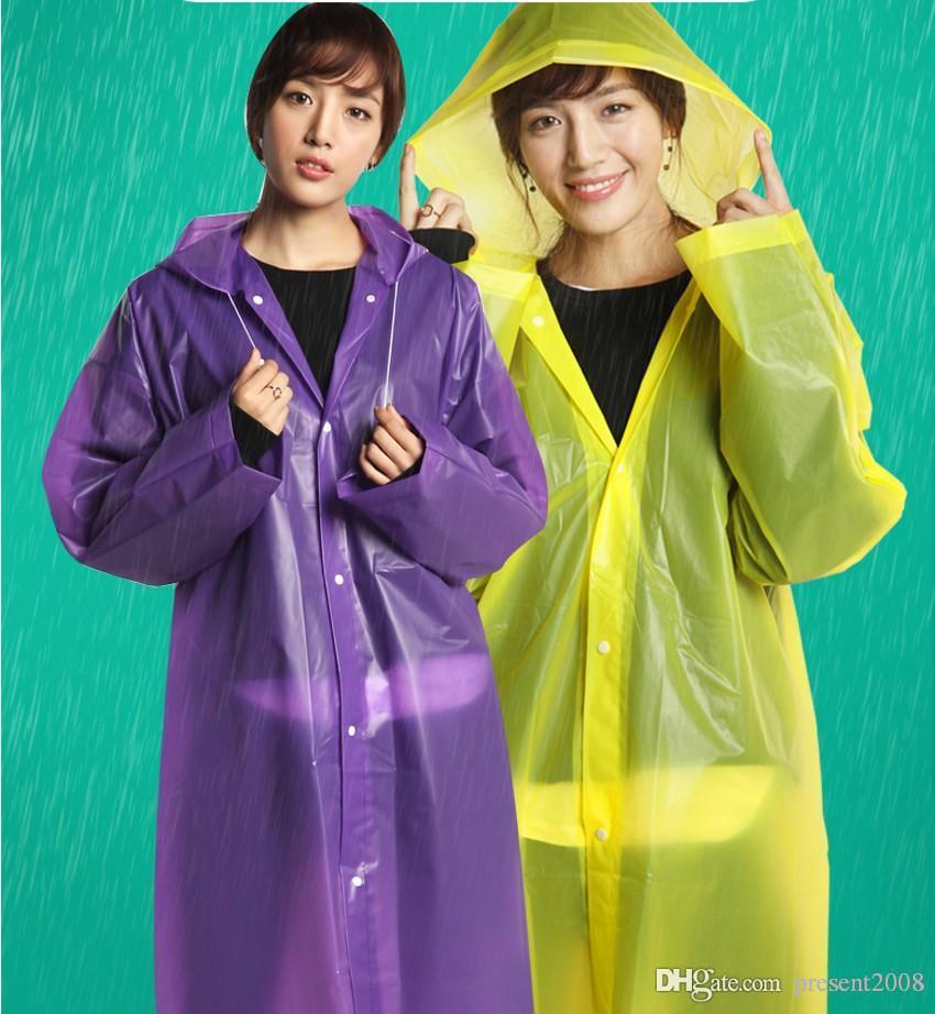 새로운 쉬운 수행 비옷 바람 코트 EVA 여성 후드 비옷 방수 투명 판초 하이킹 ALFF