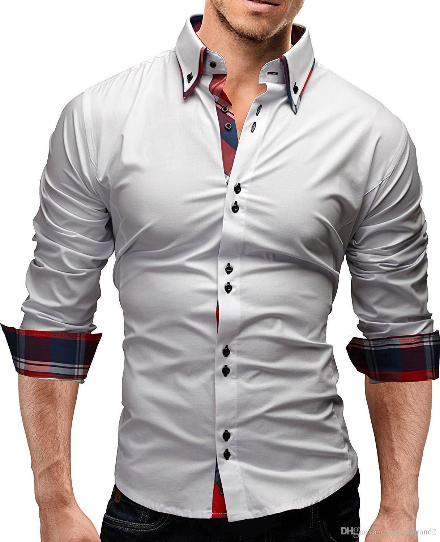 Sonbahar Lüks Erkekler Gömlek Moda Tasarımcısı Kasetli Erkek Giyim Casual Slim Uzun Kollu Erkek Tops