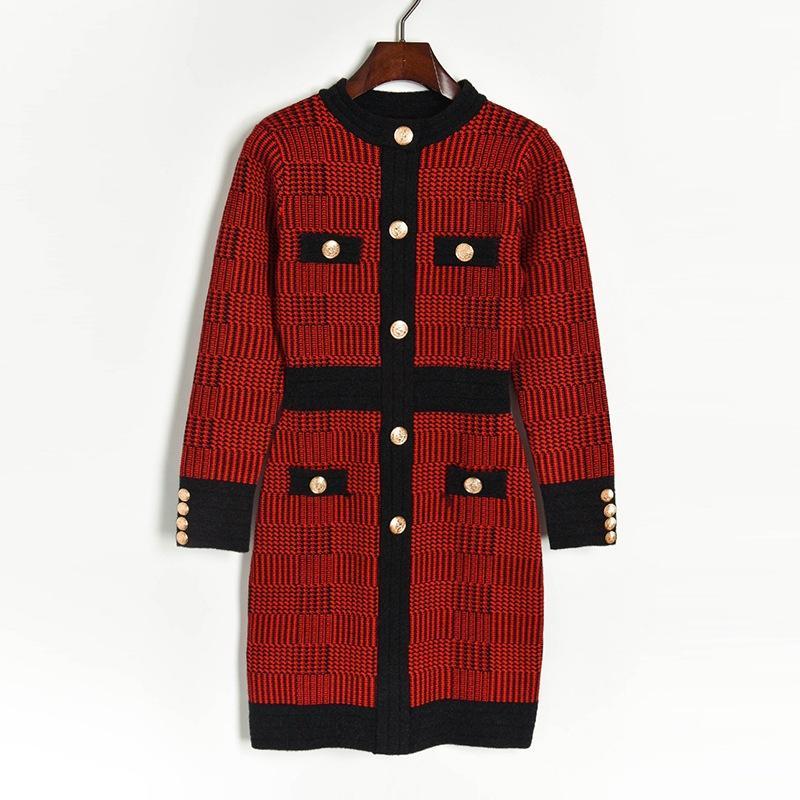 2019 осень красный / черный Colorblock трикотажные кнопки длиной до колена с длинным рукавом экипаж шеи мода взлетно-посадочной полосы платья Vestidos 9N12YDY10DW91056
