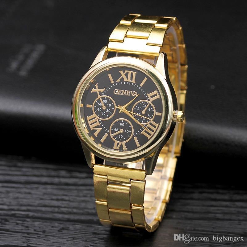 Luxo das Mulheres Mais Novos Genebra Genebra Assista Roman Numerais Liga Dourada Stailess Steel Steel Sport Men Analog Quartz relógio de pulso