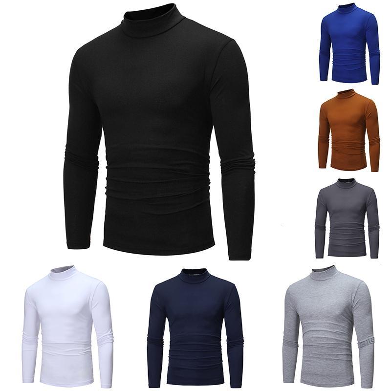 T 셔츠 가을 겨울 남성 얇은 열 T 셔츠 남성의 절반 칼라를 바닥으로 슬림 따뜻한면 넥 긴 소매