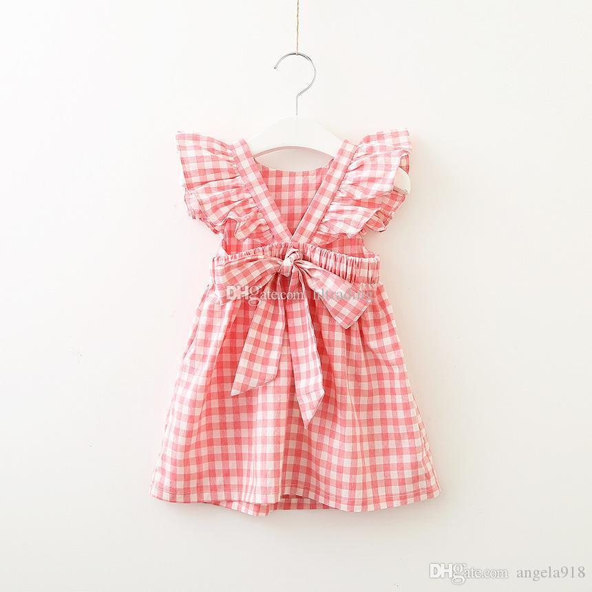 Babygitter Kleid Kinder fliegen Ärmel Plaid Princess Kleid 2019 Sommer Mode Kinder Kleidung Boutique V backless Mädchen Kleid 2 Farben C5777
