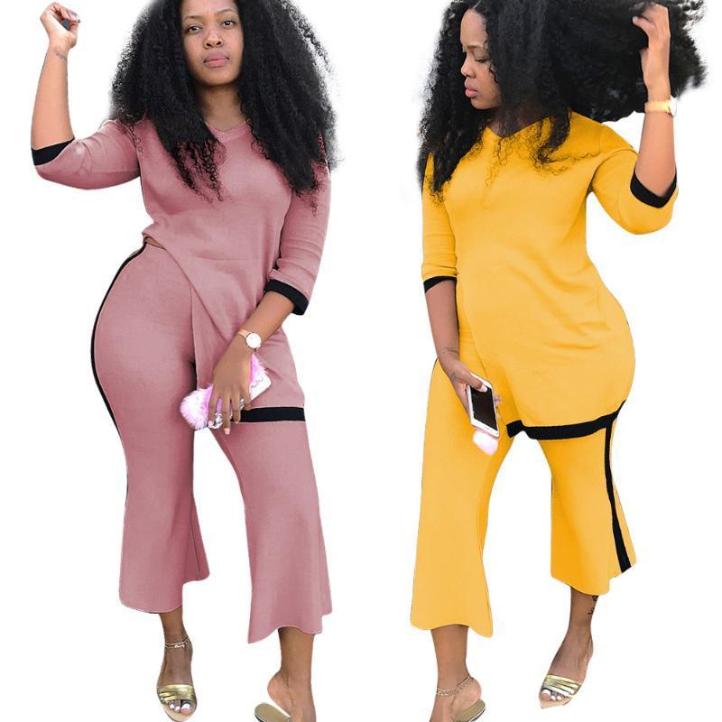 Sonbahar 2 Adet Set Kadınlar Geniş Bacak Ayak bileği uzunluğu Pant Üst 3/4 Sleeve Casual Parti İnce Yan Bölünmüş Renk Patchwork Rompers ayarlar