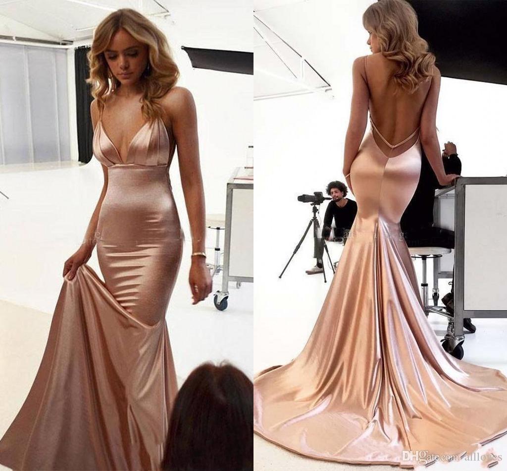Prom Dresses sirena 2020 Sexy senza spalline e schiena scoperta lungo degli abiti di sera sweep treno partito convenzionale di usura Vestidos de fiesta AL3864