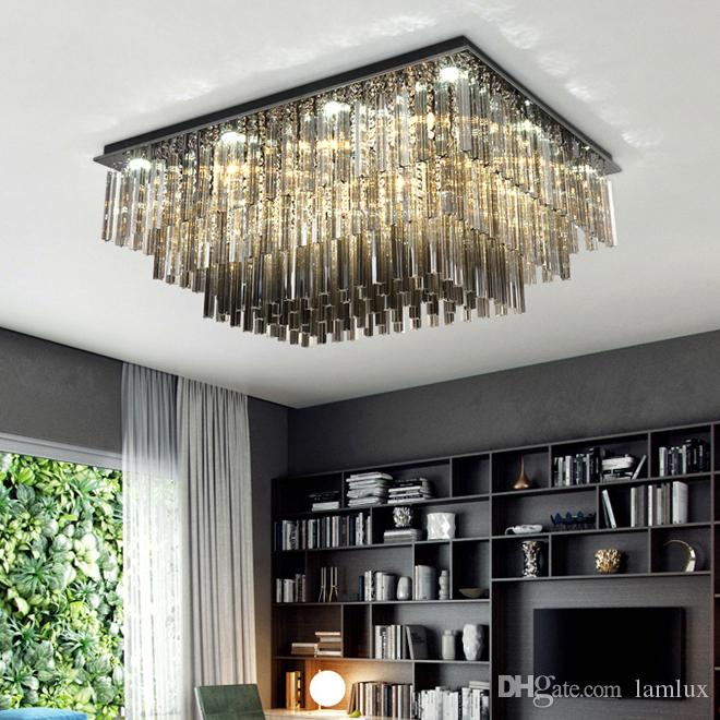New style contemporary favour rectangle L 90cm x w 70 cm crystal chandelier lamps black led ceiling ceiling room study room