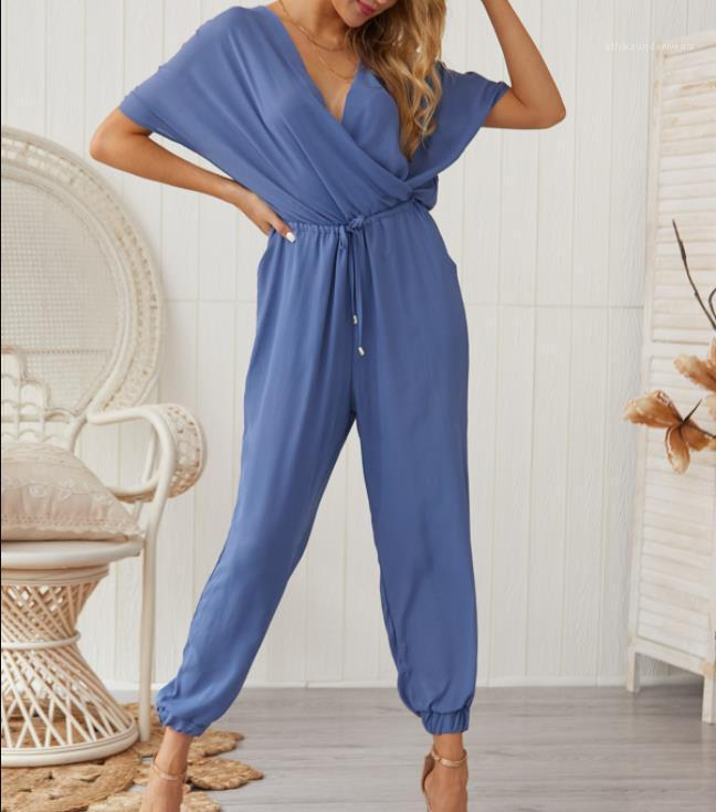 Jumpsuits Summer V-neck Sexy Cross-tied Loose Casual Wearing Fashion Rompers Full Length Apparel Women Solid Color