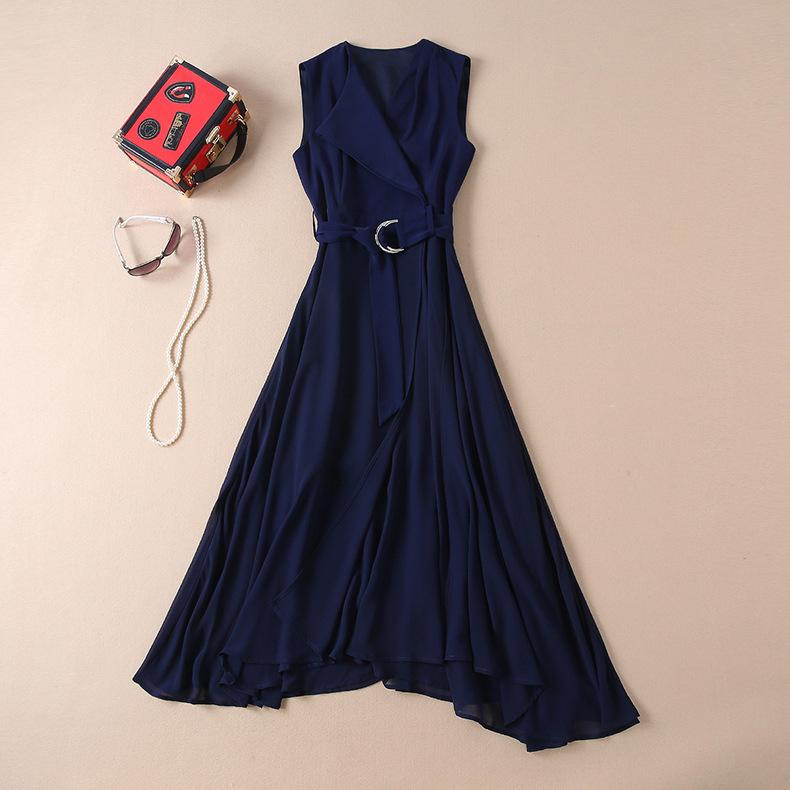 2019 Spring Summer Sleeveless V Neck Pure Color Blue With Belt Long Maxi Dress Luxury Runway Dresses M231412A2