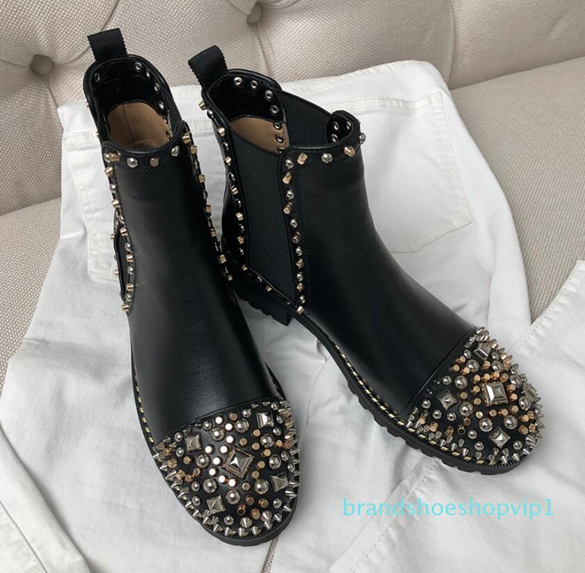 Hot Sale-Womens black real leathe punk spike Rivets studded gold Silver Embellished rubber soles combat booties pull on ankle Boots