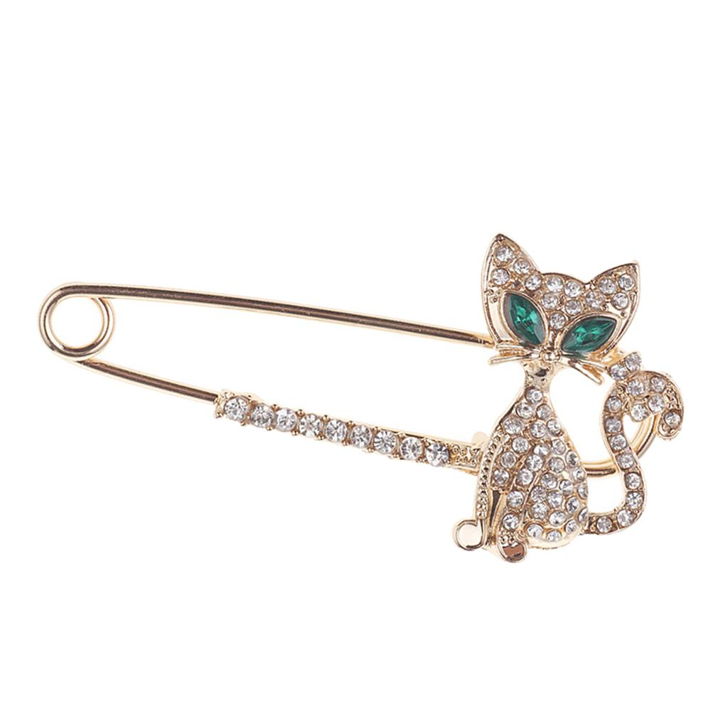 Дамы Chic Кристалл Rhinestone Cute Cat Large Safety Pin Брошь