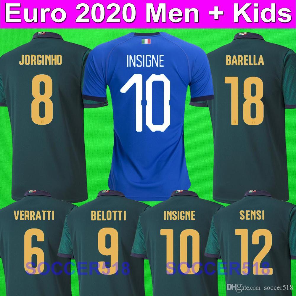 italia EURO 2020 Italy Jorginho INSIGNE BARELLA 2020 terze maglie da calcio verde BONUCCI Bernardeschi BELOTTI IMMOBILE SENSI scherza il pullover di corredi di calcio set Barella