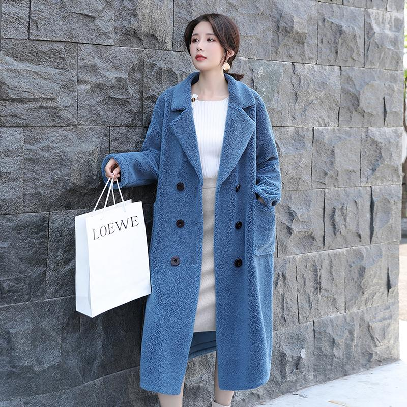 2019 New Grain Cashmere Coat Female Long Section Double Breasted Full Sleeve Loose Compound Lamb Fur Fur Grass Coat Tide S-XL SH190930