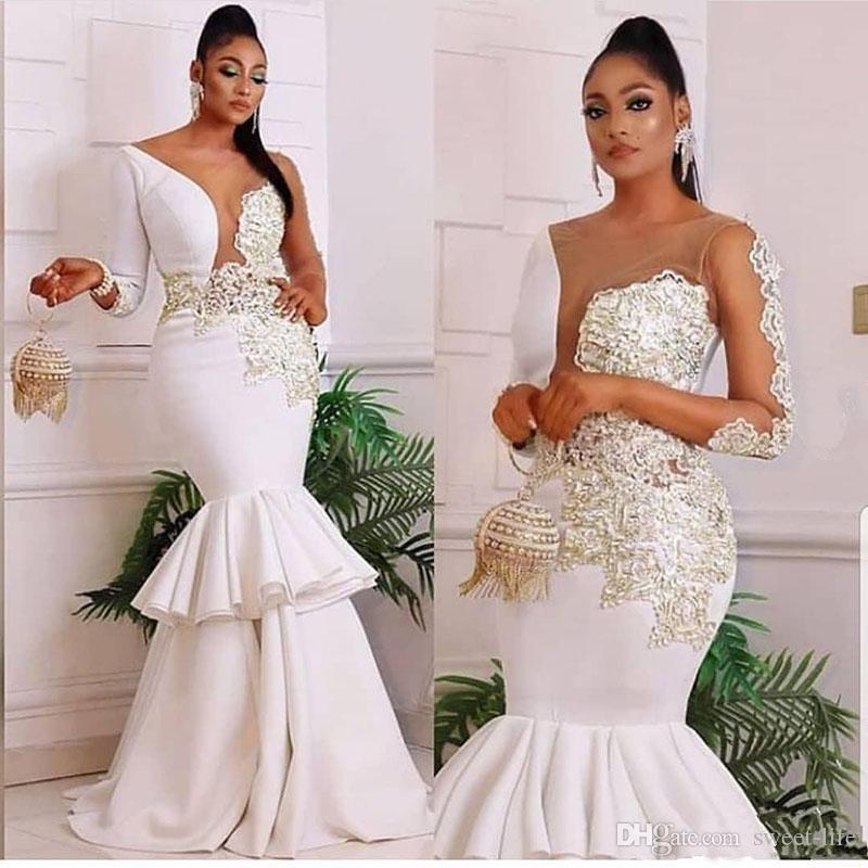 Afrique du Nigeria sirène robes de mariée 2020 Sheer cou Applique manches longues Taille Plus Sexy Party Robes de mariée Abendkleider