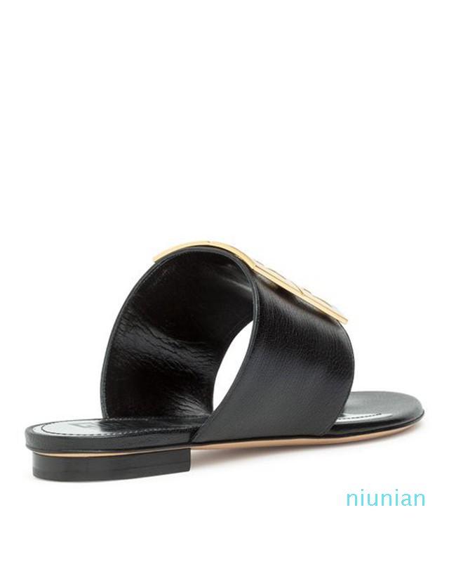 Pelle nera di vendita calda 4g Sandali piatti pantofole con fibbia in metallo ottone dettaglio unico 9cm altezza