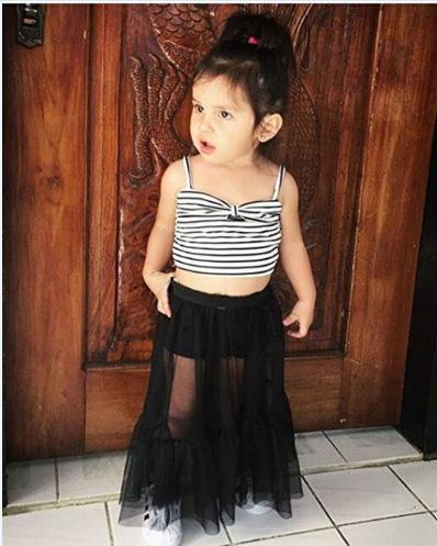 Retail baby tracksuit letter print 2 pieces skirt set girls striped bow tube top black lace dress outfits kids designer clothes