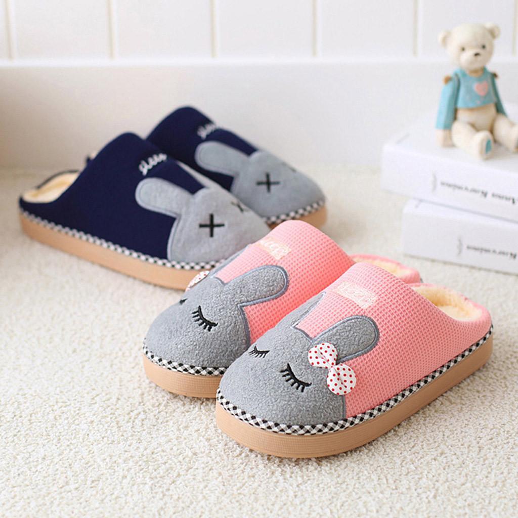 Erkek kadın kış Flip flop terlik kapalı düz Ayakkabı çift sevimli Tavşan ev terlik Karikatür kaymaz sıcak kapalı kat Ayakkabı