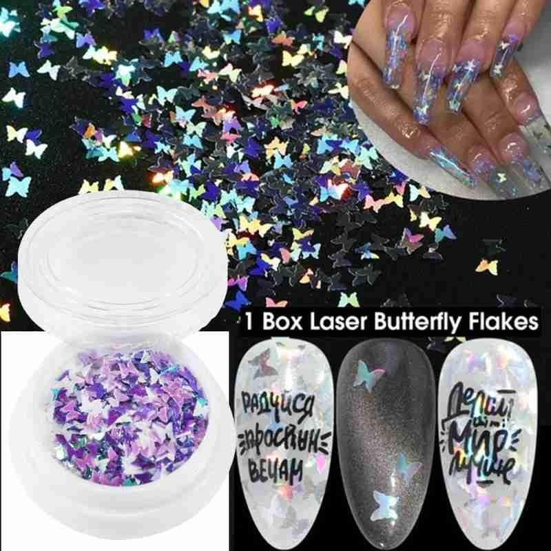 10g / Box Holographic Schmetterlings-Form-Nagel-Kunst-Funkeln-Micro Laser-Stern-Flakes 3D Silver GoldPaillette Polish-Maniküre-Nagel-Dekor