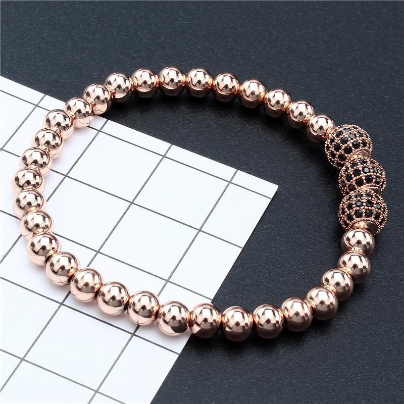 Hawson oro rosa sfera borda il braccialetto di metallo in rilievo il basamento Bracciali per monili delle donne di moda femminile a mano