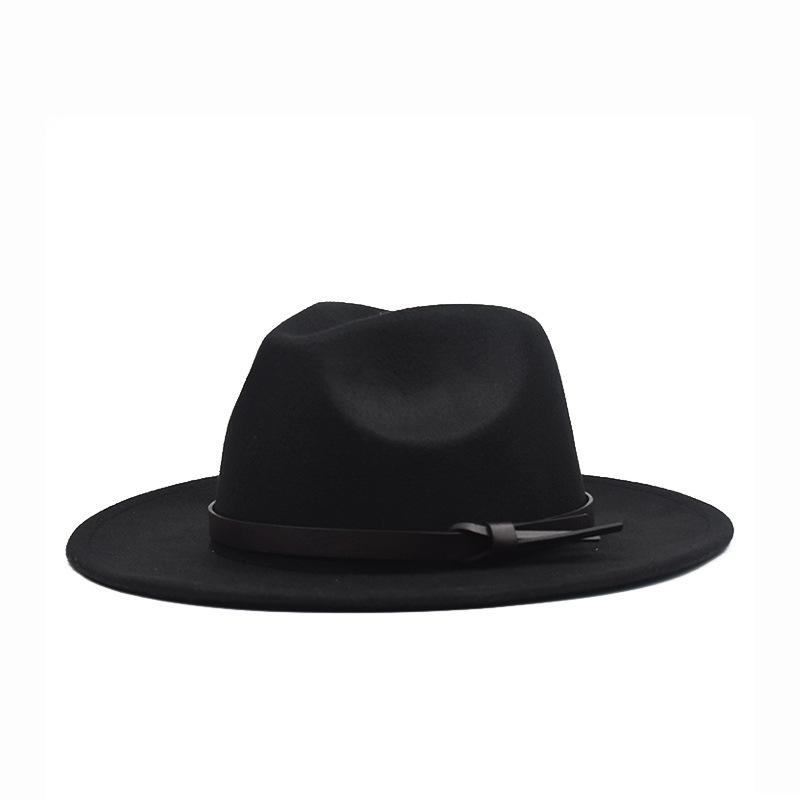 Fall / Winter 2020 Korean version of the flat woolen hat, belt, big eaves felt hat, plain weave hat, Europe and America