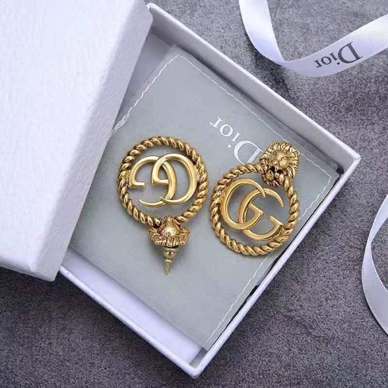 Orecchini all-stile testa calda anelli in ottone retrò design con orecchini da lettere lucide