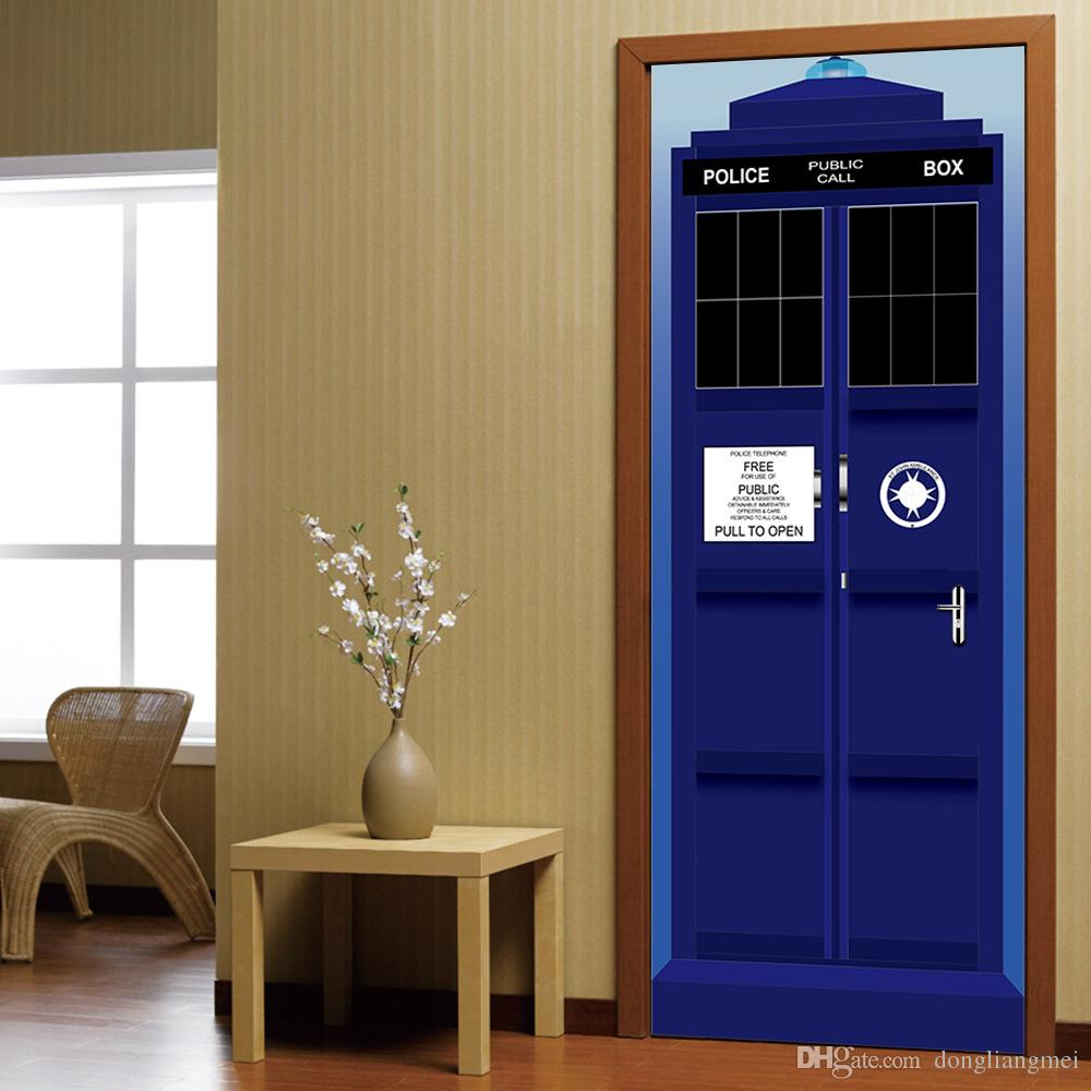 New Doctor Who Wall Decal Blue Tardis Fathead Style Door Wall Sticker Graphic Unique Mural Cosplay Gifts Wn642 From Dongliangmei 24 13 Dhgate Com