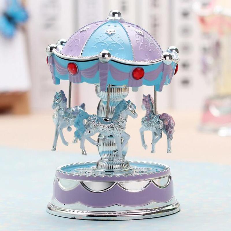 Carousel Music Box avec Flash vintage classique anniversaire Musique Coffret cadeau mouvement romantique de Noël ornement présent
