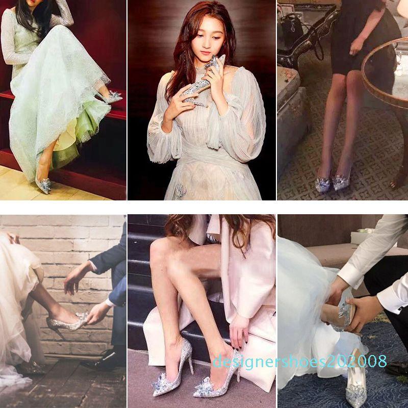 2019 Avrupa Düğün Ayakkabı Kadın Beyaz Rhinestone Kristal Ayakkabı Stiletto Sivri Kırmızı Gelin Moda Yüksek Topuklar D08 Matkap